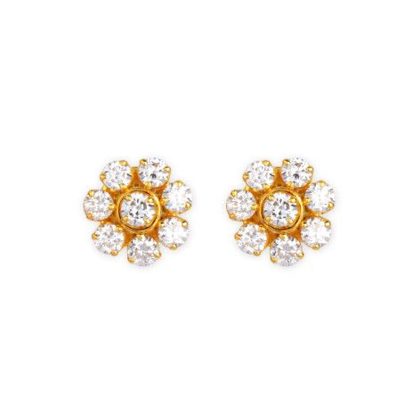 The Traditional South Indian 7 Stone Diamondstud Is Redefined In This Clic Pair Of Handcrafted 18kgoldearrings