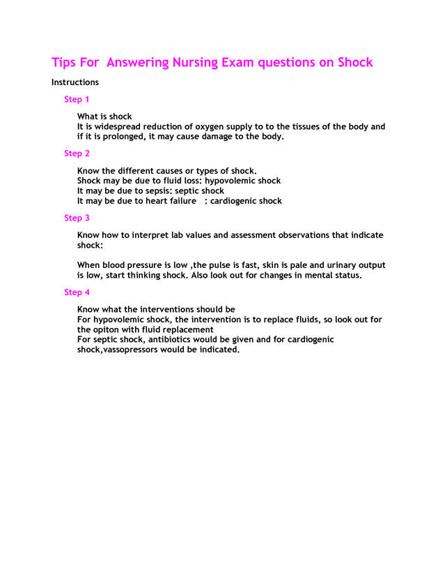 School Nurse Resume Tips For Answering Nursing Exam Questions On Shock For Nclex Hesi