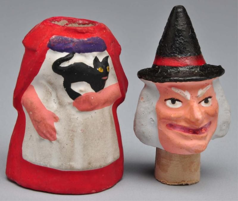Lot # : 405 - Solid Composition Halloween Witch Candy Container