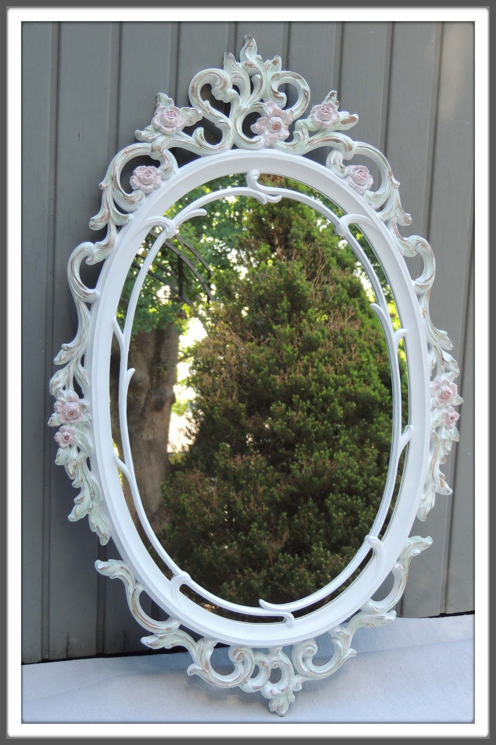 Vintage Oval Mirror Large Ornate Oval Mirror With Flowers Oval