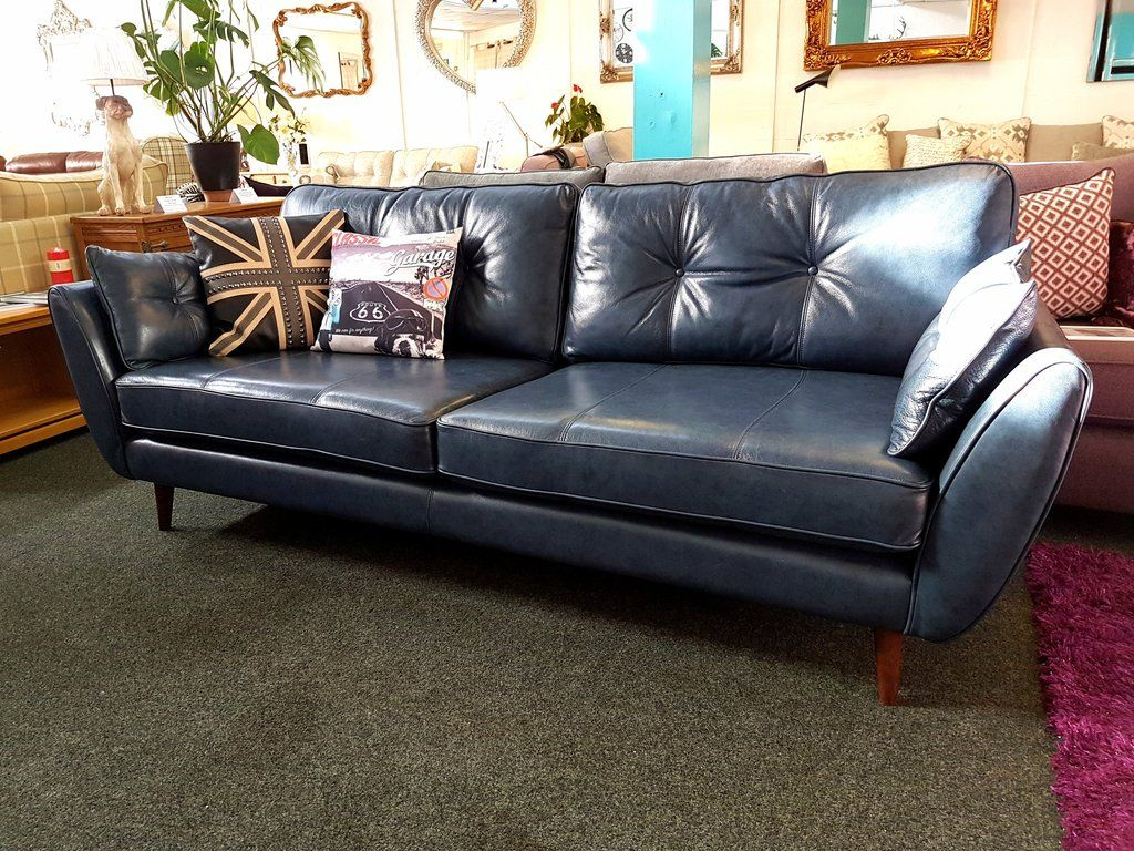 Ex Display French Connection Zinc Blue Leather 4 Seater
