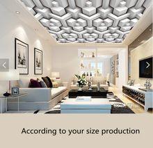 Custom de plafond behang. 3D mode geometrische patroon voor de ...