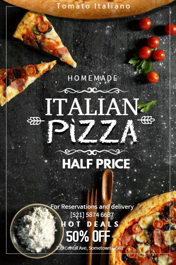 Italian Pizza Promotion Poster Design Template