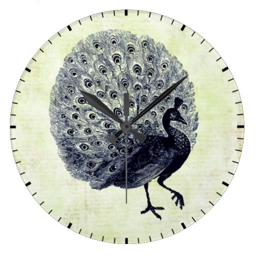 Vintage Peacock Illustration Wall Clock