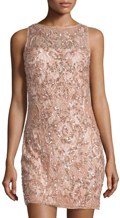 Aidan Mattox Beaded Sequin Lace Sheath Dress, Ash Rose  $255.00 $178.50