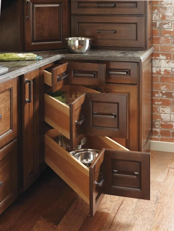 Corner Cabinet Drawers ~ Kitchens For Less   Diamond Kitchen Cabinets    Pretty Genius.