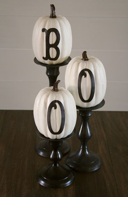 White Pumpkins. Turn the Boo around to finish the Harvest season without a Halloween theme. BOO Pumpkins