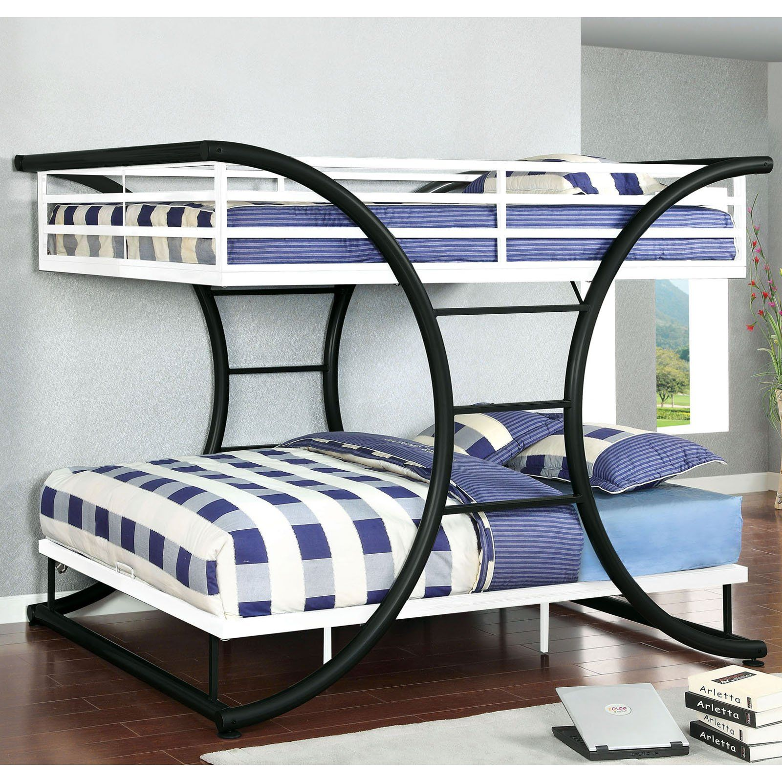 Interesting design. Zenner Unique Metal Full over Full Bunk Bed ...