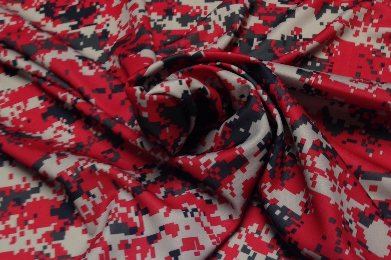 """Digital Camo Red Black Polyester Knit Interlock Athletic Fabric by Yard 60""""W this is a really great fabric very happy with it."""