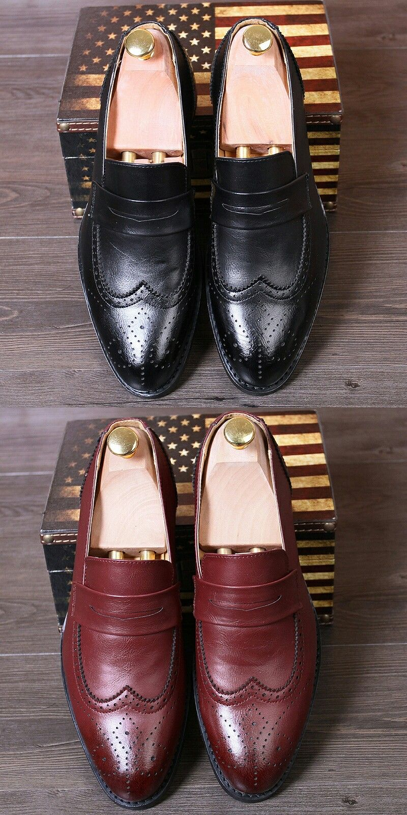 US  30.07 2018 Italian Luxury Designer Formal Mens Dress Shoes Leather  Wingtip Slip On Basic Flats 2bfd392ec904
