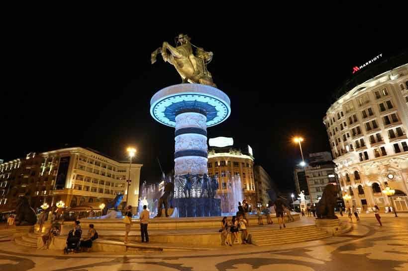 Stadt Skopje Nicht Die Mechanik Sondern Flutlichtanlage Der