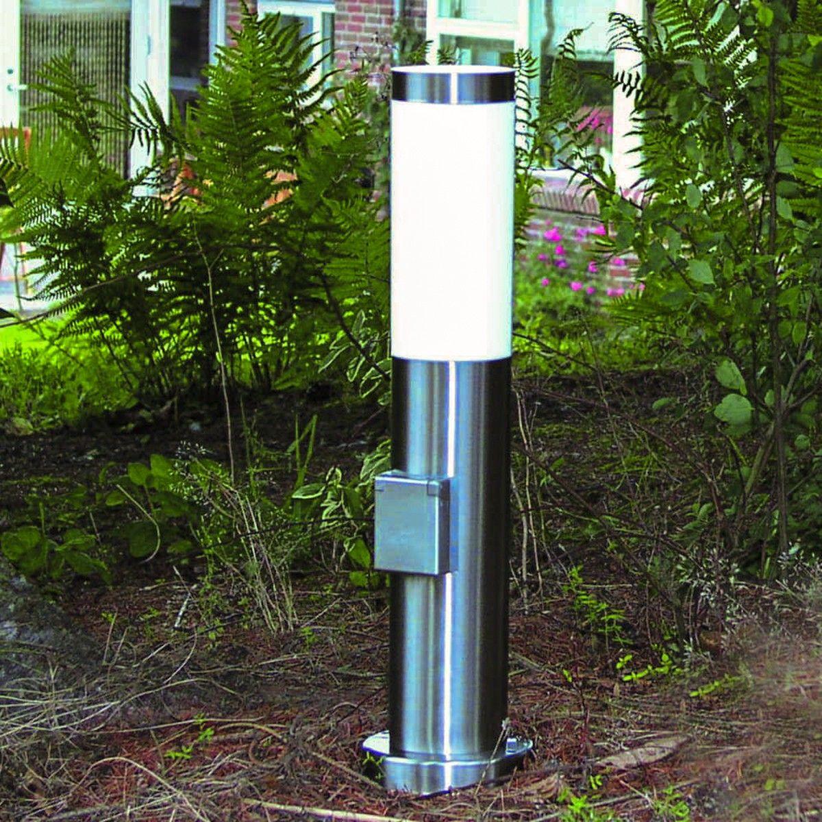 4 Wegeleuchte Steckdose LED Edelstahl Lampe Außen Garten Hof Standleuchte 45cm