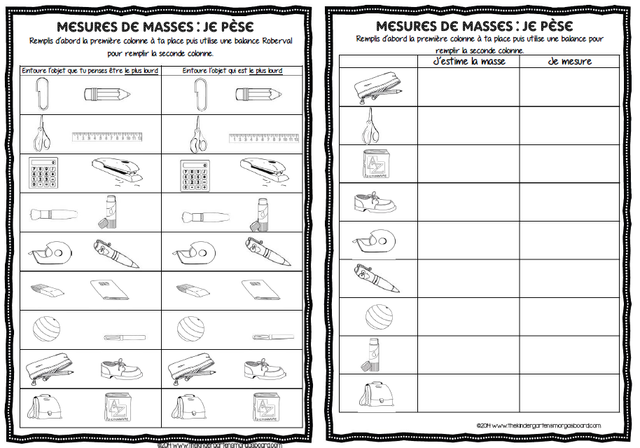 maths atelier mesures de masses mesures grandeurs masses. Black Bedroom Furniture Sets. Home Design Ideas