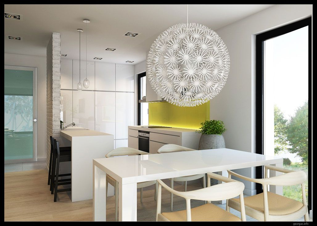 Contemporary White Kitchen Dining Room Design Ideas With Unique Ceiling  Ball Pendant Light Shade, Simple Dining Table Set, Mini Ba.