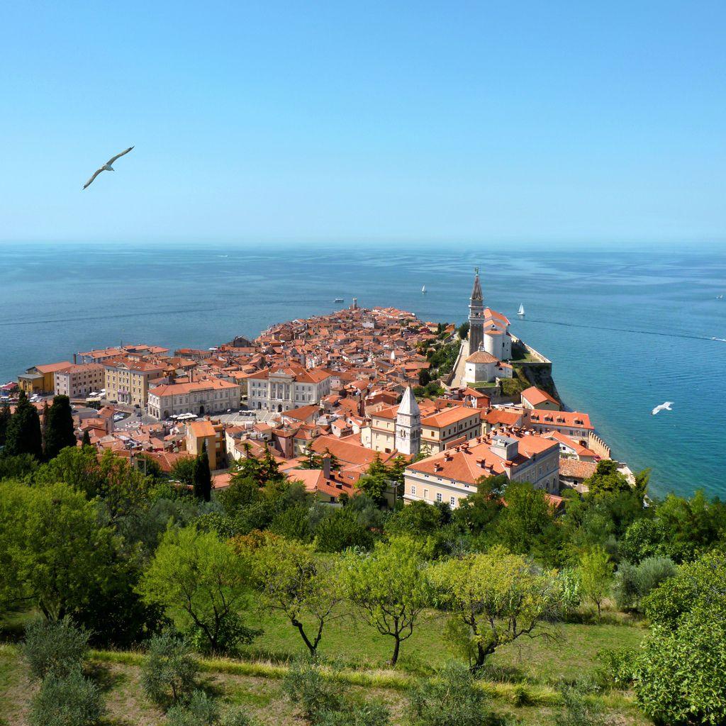 The Piran peninsula on the Istrian coast of Slovenia