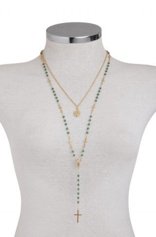 Double Green Rosary Necklace - BEAUTIFUL rosary necklace! Love the crosses within the prayer beads...