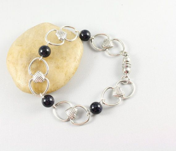 Silver Link Bracelet with Blue Gold stone  Heart by thejewelstreet, $31.00