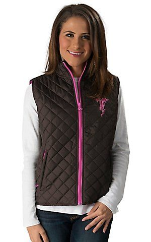 Cowgirl Hardware Women's Brown with Pink Zebra Cross Quilted Nylon Vest | Cavender's