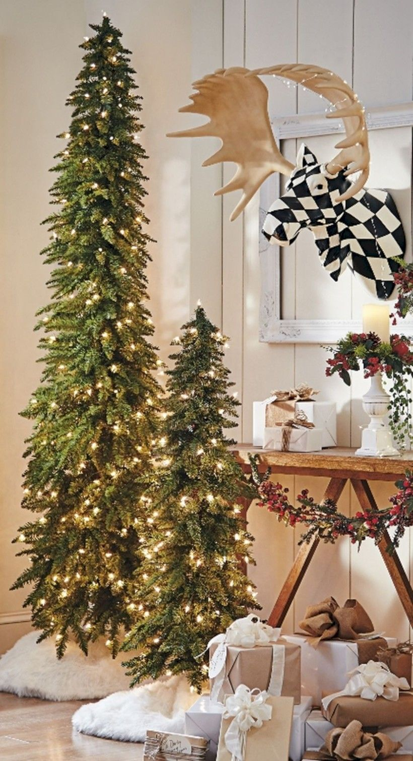 43 Totally Inspiring Small Christmas Tree Decoration Ideas For Space Saving Roundecor Skinny Christmas Tree Small Christmas Trees Decorated Slim Christmas Tree