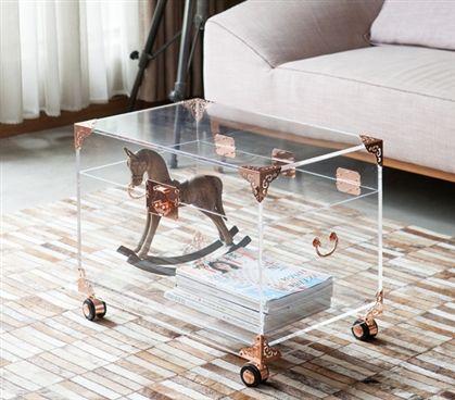 Stylish Ciao Bella Acrylic Trunk With Wheels Essential Dorm Room