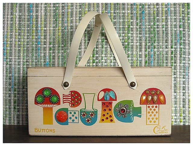 """Enid Collins - """"Buttons"""" Wood Box Bag"""