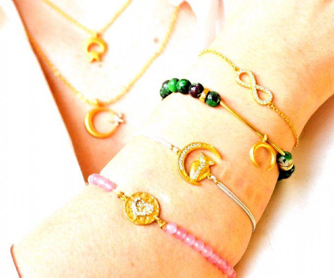 Crescent Star Necklace, Green Heart Bracelet, Gold Moon Bangle, Pink Heart Bracelet, Infinity Love