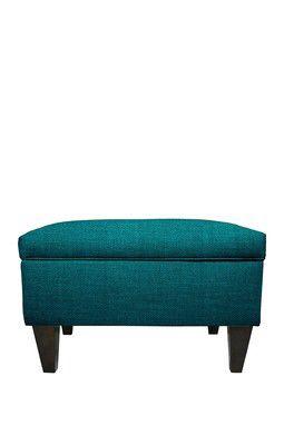 Upholstered Key Largo Zenith Teal Square Legged Box Storage