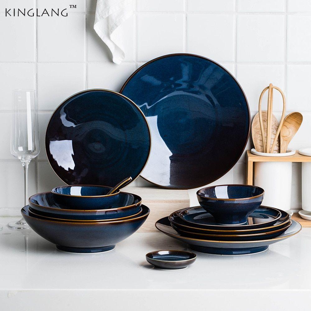 Dim Deep Blue Color Ceramic Tableware European Retro Glazed Dinnerware Pottery Porcelain Dish Plate H Dinnerware Pottery Ceramic Dinnerware Set Blue Dinnerware