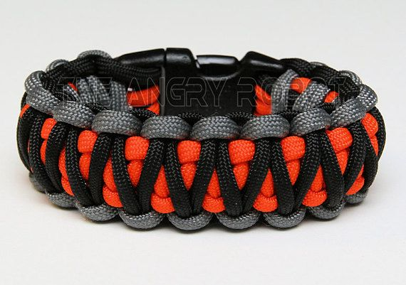 Paracord Survival Bracelet King Cobra Grey Black With Neon Orange Core