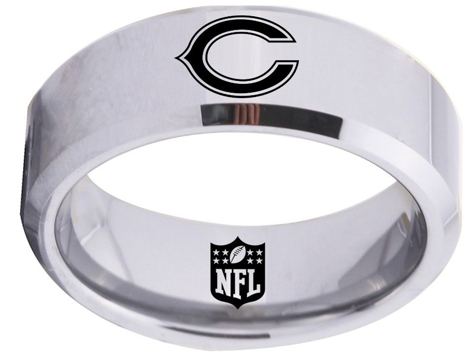 Chicago Bears Ring Silver 8mm Tungsten Ring Sizes 6 15 Available Chicago Bears Chicagobears Chitown Nfl Chicago Bears 8mm Tungsten Ring Tungsten Ring