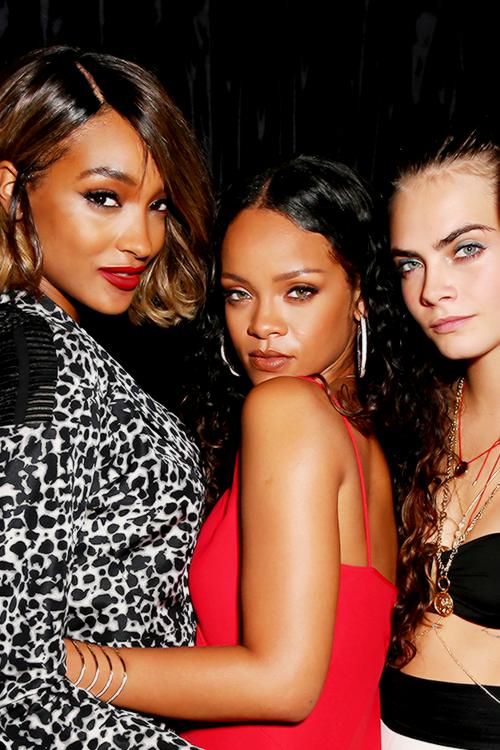 "Jourdan Dunn, Rihanna, and Cara Delevingne "" Cara"