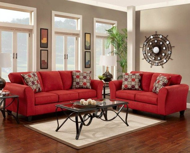 Red Sofa And Loveseat Living Room Decor Couch Decorating