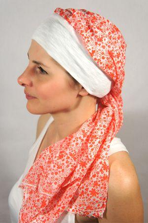e7340df5a66d Bonnet Turban avec foulard pour chimiothérapie – Liberty corail ...