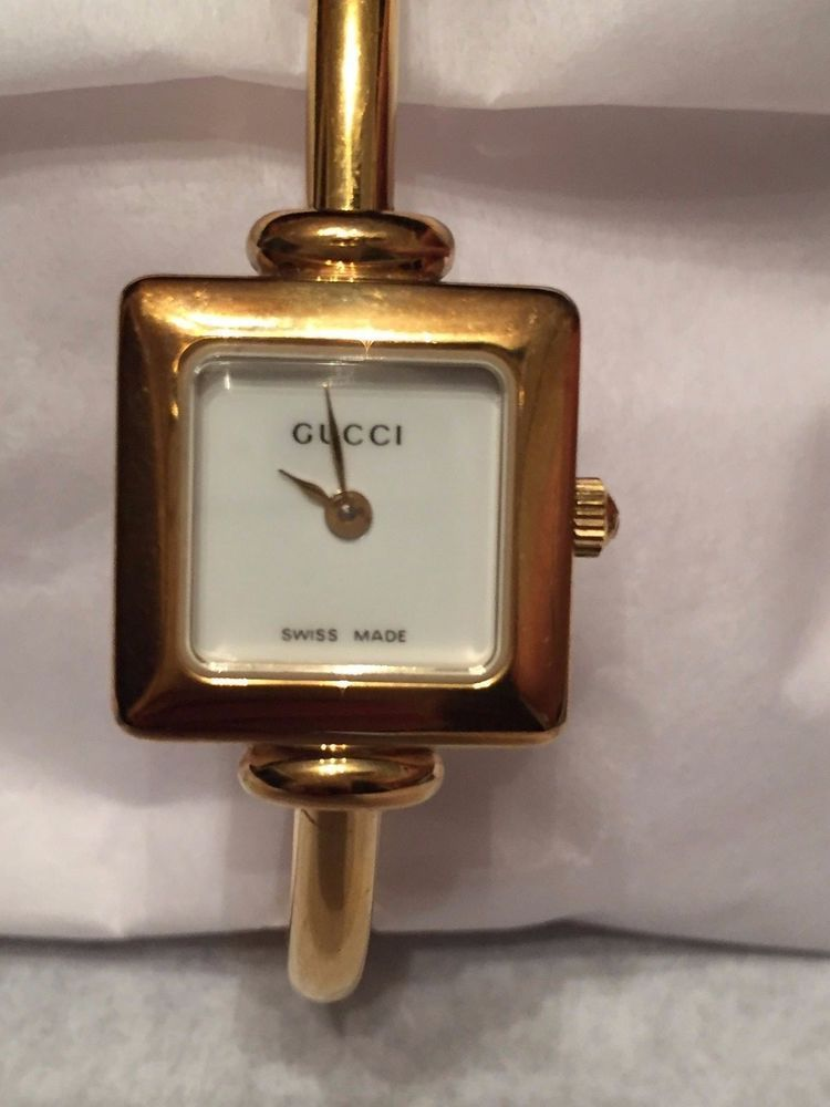 94c4855b812 Authentic Gucci 1900L Gold Stainless Steel Ladies Bangle Watch 71 2