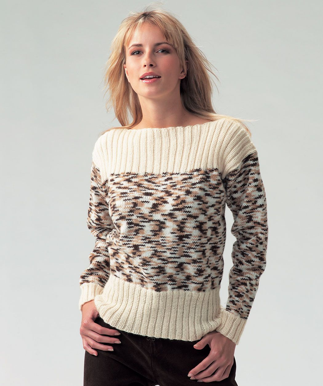 Boat Neck Ladies Jumper Free Knitting Pattern In