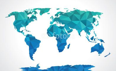 Blue polygonal world map vector world map pinterest tattoo blue polygonal world map vector gumiabroncs Gallery