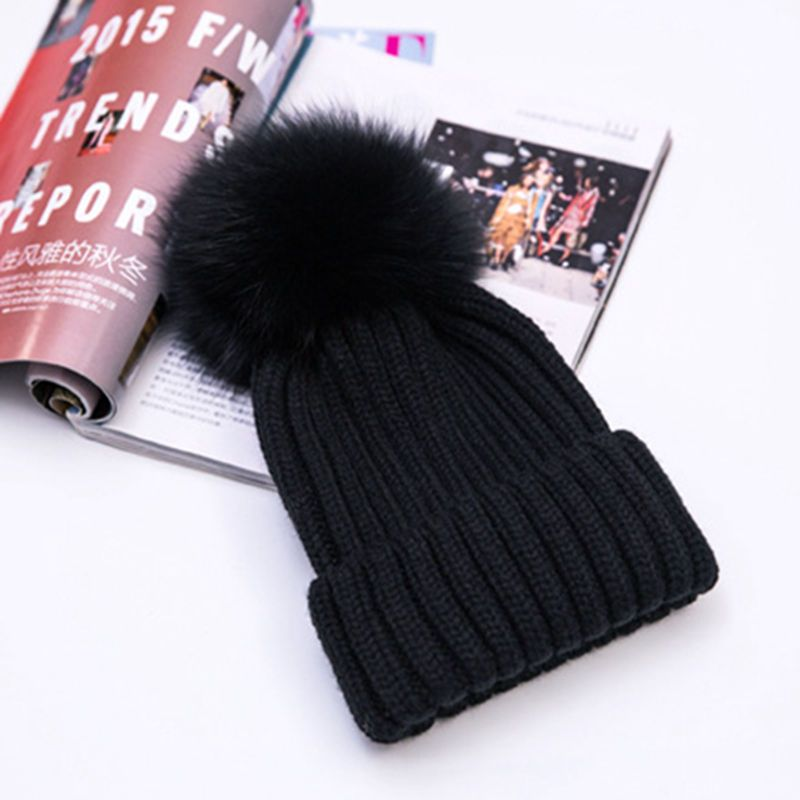 2afd197728c 2018 Winter Hats15cm Real Fox Fur Pom Pom Women Winter Knit Beanie Bobble  Hat  fashion  clothing  shoes  accessories  womensaccessories  hats (ebay  link)