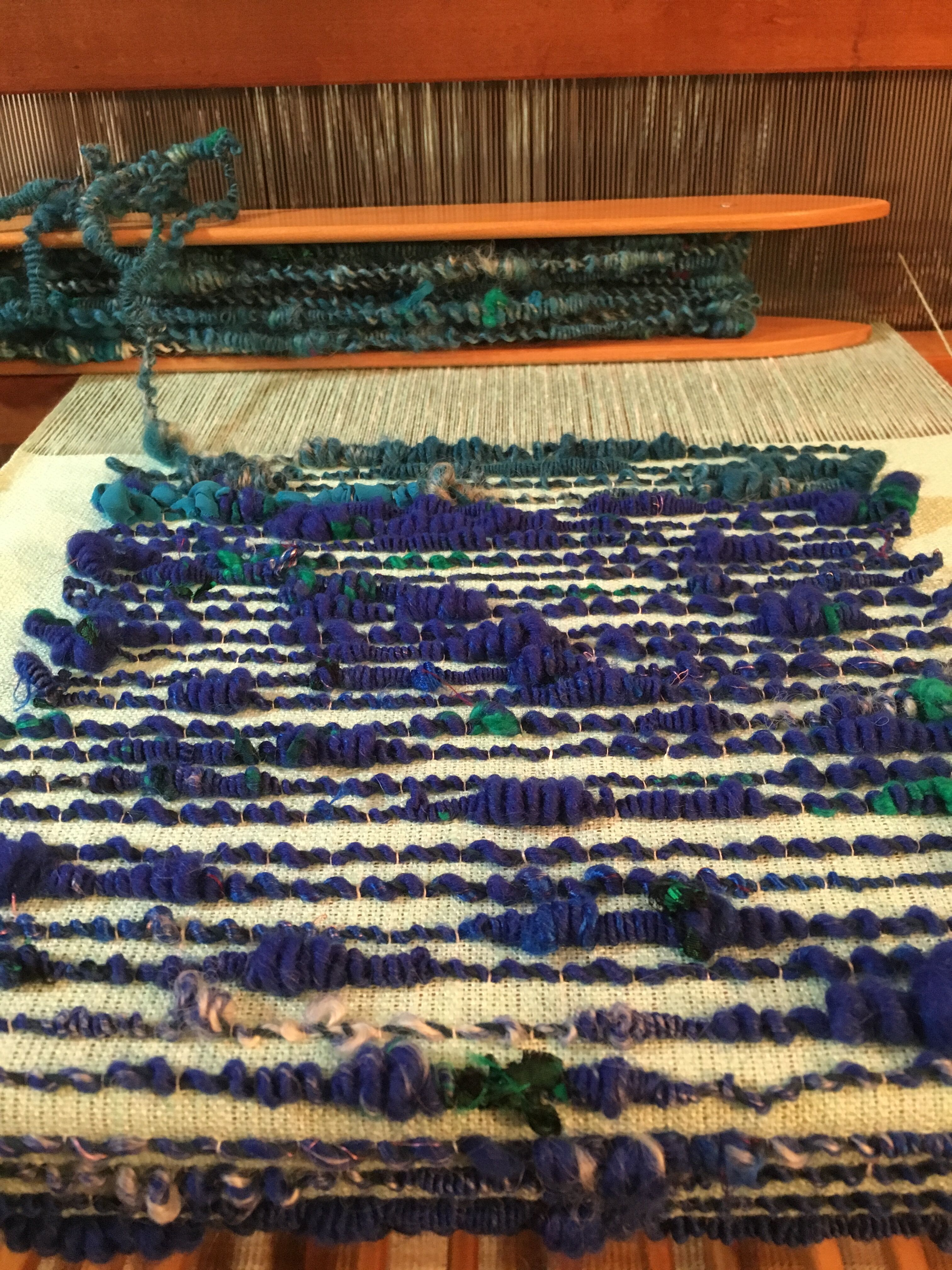 linen ground, handspun wool/silk overlay ::: theo moorman technique ::: #weavingweavingovertheboundingmain
