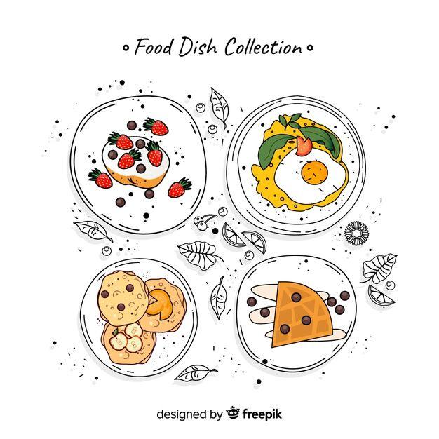 Set de platos de comida vector gratuito   Free Vector #Freepik #freevector #comida #menu #restaurante #frutas