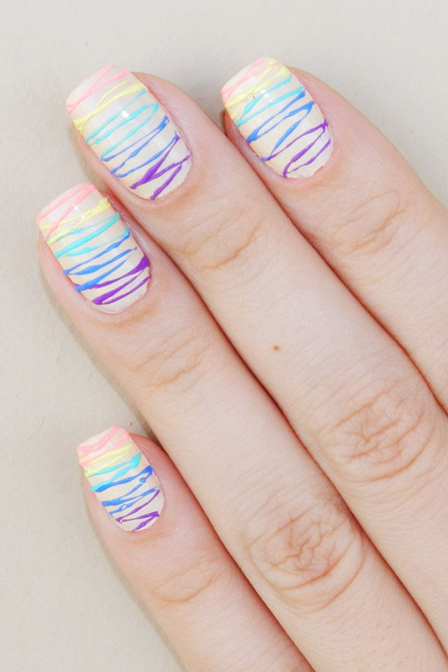 Candy color sugar spun nails tutorial.