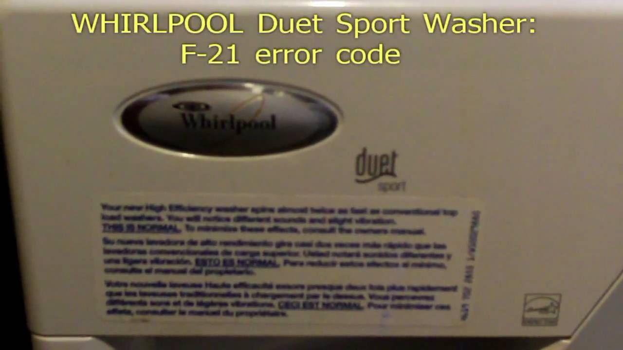 Whirlpool duet sport F21 error code fix Coding, Error