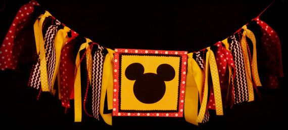 Mickey or Minnie High Chair Banner Mickey or by TutuHappyLLC