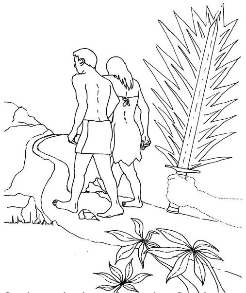Adam And Eve Hiding From God Coloring Page