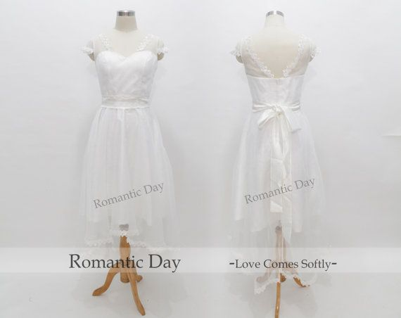 Special White high low Lace Illusion Shoulder tulle short bridesmaid dresses/sweetheart Capped sleeve Ribbons/plus size dress