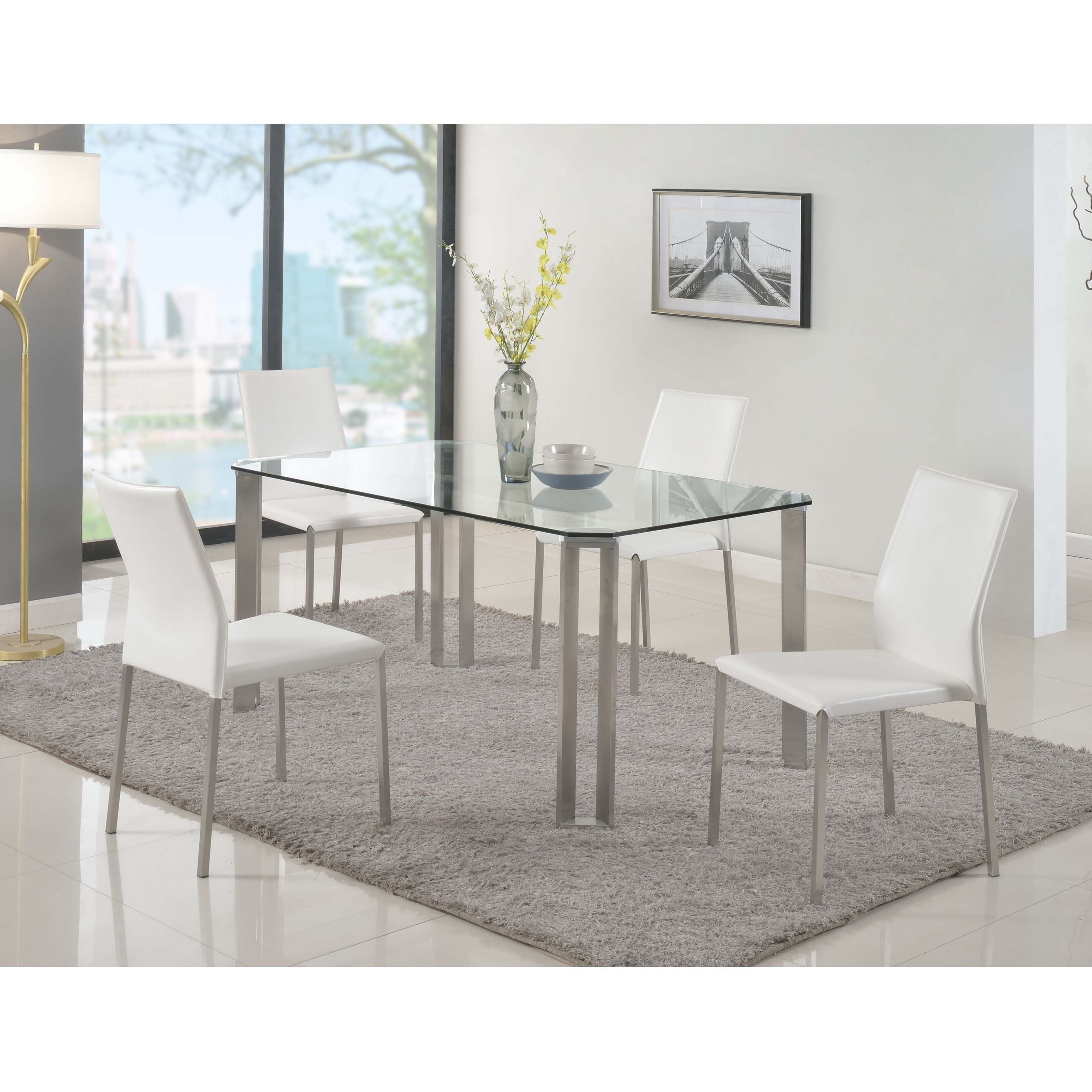 Stainless Steel Dining Room Tables Captivating Chintaly Rhonda 5Piece Dining Table Set  Cty2100  Products Design Inspiration