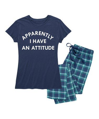 Navy & Navy Plaid 'Apparently I Have an Attitude' Pajama