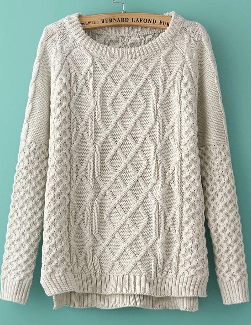 e81ce3dceb6490 White Long Sleeve Diamond Patterned Knit Sweater