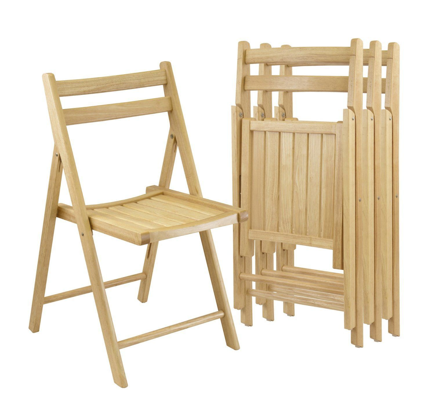Winsome Wood Folding Chairs Natural Finish Set of 4