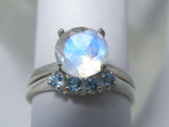 MOONSTONE Rainbow Moonstone and Swiss Blue Topaz by FacetWorld