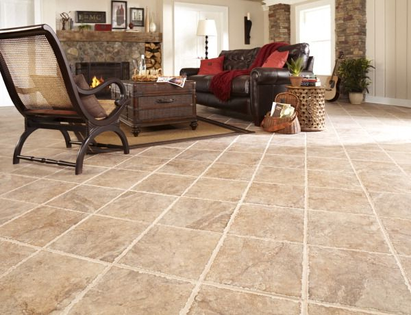 Extremely Durable Flooring : This walnut glazed porcelain tile floor is easy to install